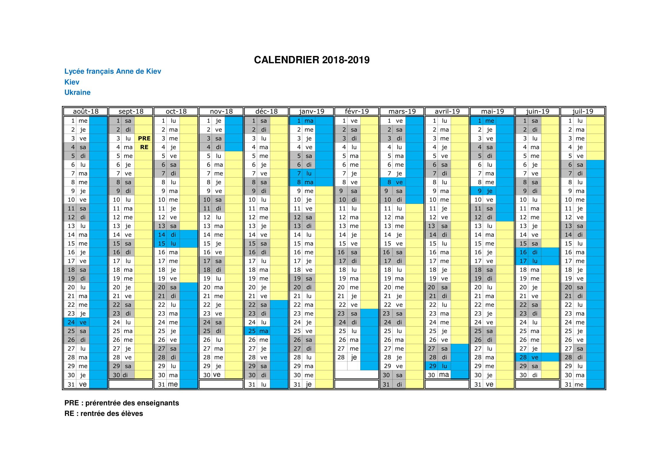 Calendrier 2018-2019 LFADK-1